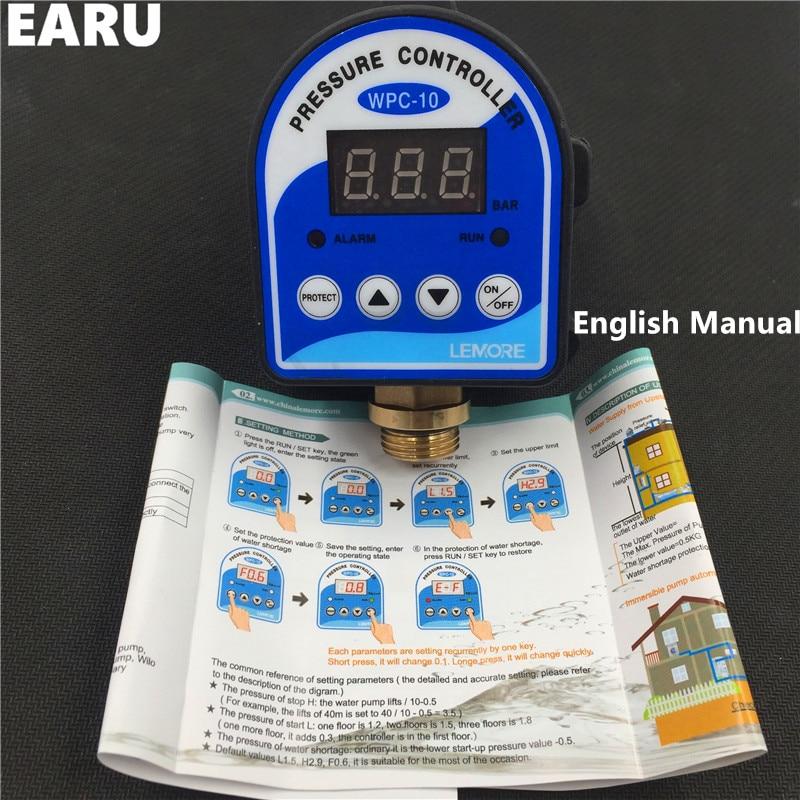 """Image 2 - 1 шт. WPC 10 цифровой переключатель давления воды цифровой дисплей WPC 10 Eletronic контроллер давления для водяного насоса с G1/2 """"адаптером-in Выключатели from Товары для дома"""