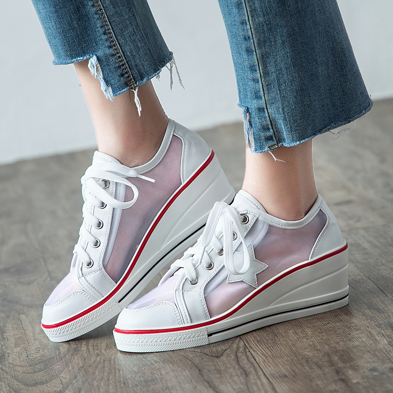Summer Style Womens Shoes Breathable Mesh Platform Sneakers For Women wedges Casual Shoes Woman Pumps Sandals Plus Size 2018