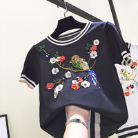 2018 New Spring Flowers Birds Embroidered Sequins Beaded Petals Thin Short Sleeved Knit Summer Sweater Shirt