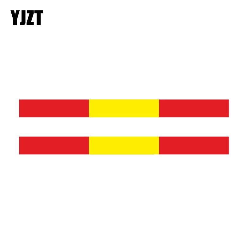 YJZT 2X 13.3CM*1.2CM Car Personality Spanish Streak Bumper Flag Stickers Decal PVC 6-0430