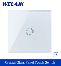 WELAIK Crystal Glass Panel Switch White Wall Switch EU Touch Switch Screen Wall Light Switch 1gang2way AC110~250V A1912XW/B