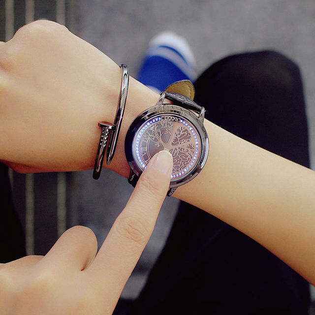 Simple creative touch screen watch fashion trend couple smart technology cool st
