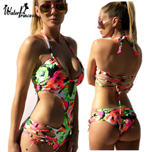 One Piece Swimsuit Sexy Swimwear Women Bandage Monokini Push Up Floral Hollow Out Bathing Suit maillot de bain Biquini Trikini