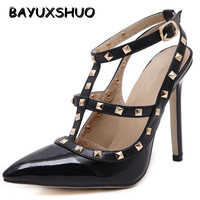 New 2104 Hot Women Pumps Ladies Sexy Pointed Toe High Heels Fashion Buckle Studded Stiletto High