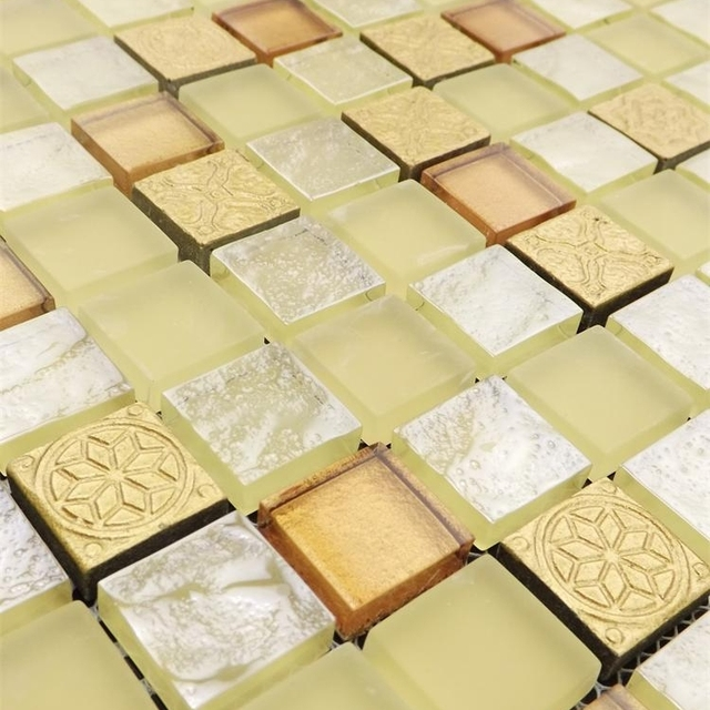 Light Yellow Warm Color Glass Mosaic Tiles For Kitchen Backsplash Tile Bathroom Shower Fireplace Wall