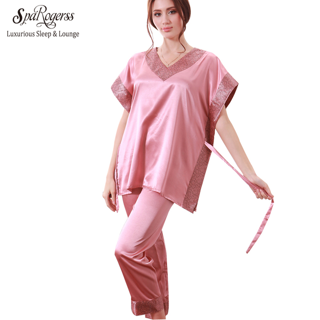 52da0aabc2 SpaRogerss Hot Fashion Women Pajamas Summer 2018 Brand Ladies Satin Pijama  Short Sleeve Silk Pajamas Sets Pyjamas Women YT167