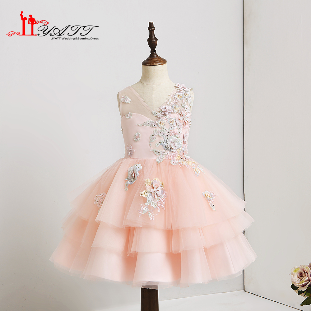 2018 Pink Flower Girl Dresses Lovely 3d Floral Flower Tiered Tulle
