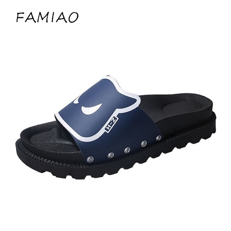 FAMIAO Monster Slippers Women Summer Beach Slides Ladies 2018 Size 35-40 Casual Flats Sweet Flip Flops Sandals Lovely Shoes new 2018 shoes woman sandals wedges lovely jelly shoes solid casual slippers summer style fashion slides flats free shipping