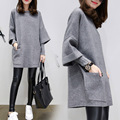 The European Style Autumn Fashion Fat Female Neck Sweater Dress Large Size Women Wool Stitching Fake 2 pcs Long Sleeved Backing