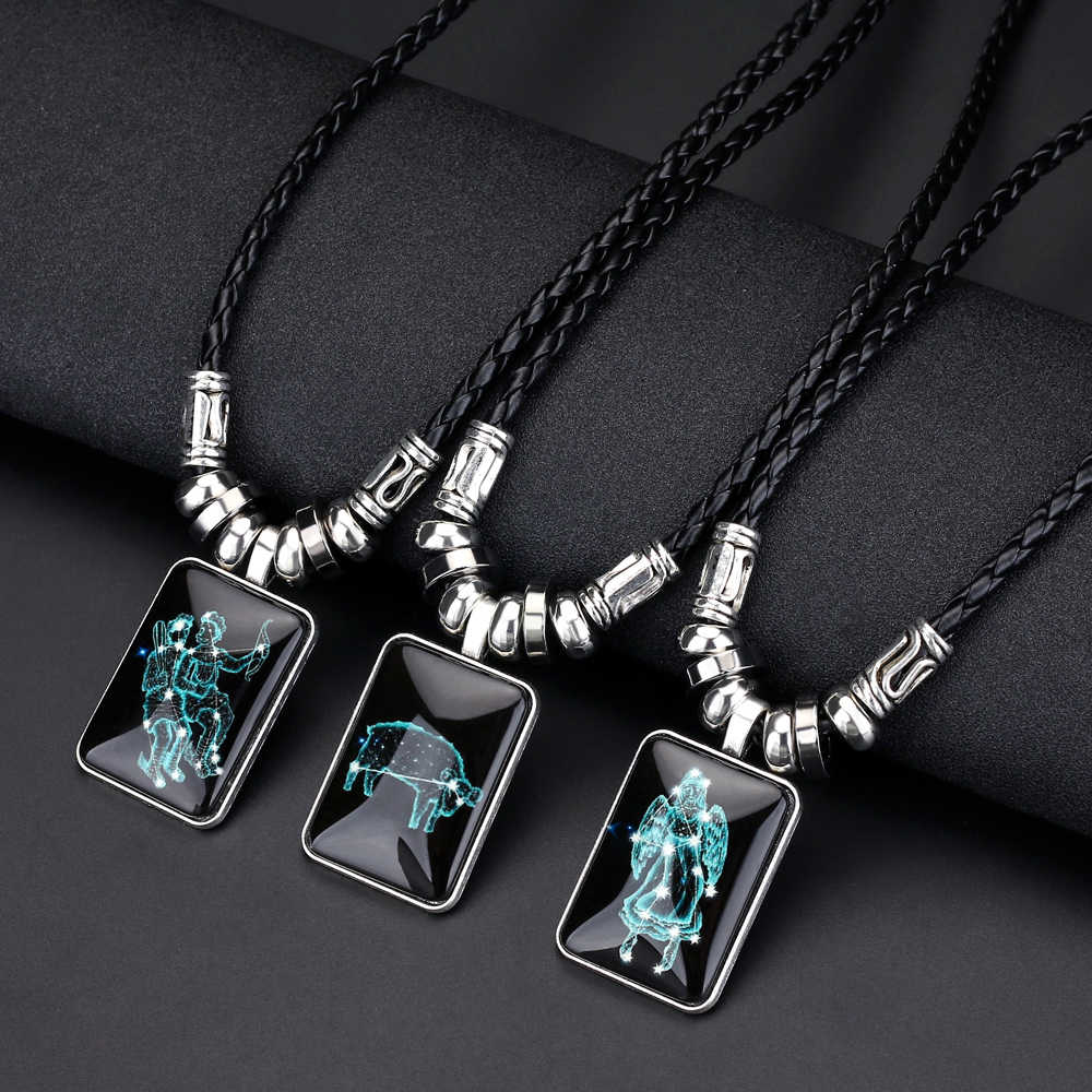 New Pendant Necklace Galaxy Constellation Design 12 Zodiac Sign Horoscope Astrology Necklace for Women Men Resin Square Jewelry