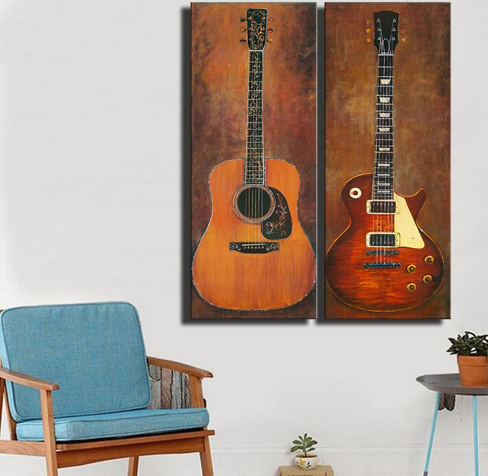 promotion paintings 2pcs music studio room guitar home decor idea oil painting art in painting. Black Bedroom Furniture Sets. Home Design Ideas