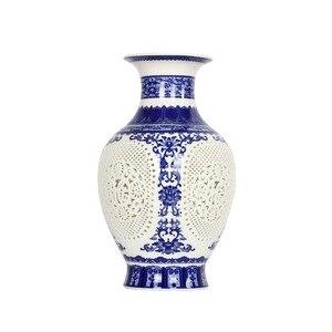 Image 5 - Antique Chinese style Palace Restoring Ancient Ways Jingdezhen Hollow White Ceramic Vase Decoration Flower Vases