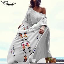 Женское богемное платье, лето, сексуальное Макси длинное платье, Повседневная Туника, рубашка с принтом, Пляжное платье, женское платье размера плюс