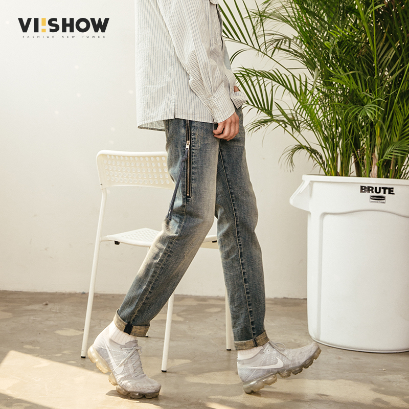 VIISHOW New Zippers Sling Jeans Men Brand Clothing Male Hip Hop Denim Pants Top Quality Casual Denim Trousers Blue NC1105181