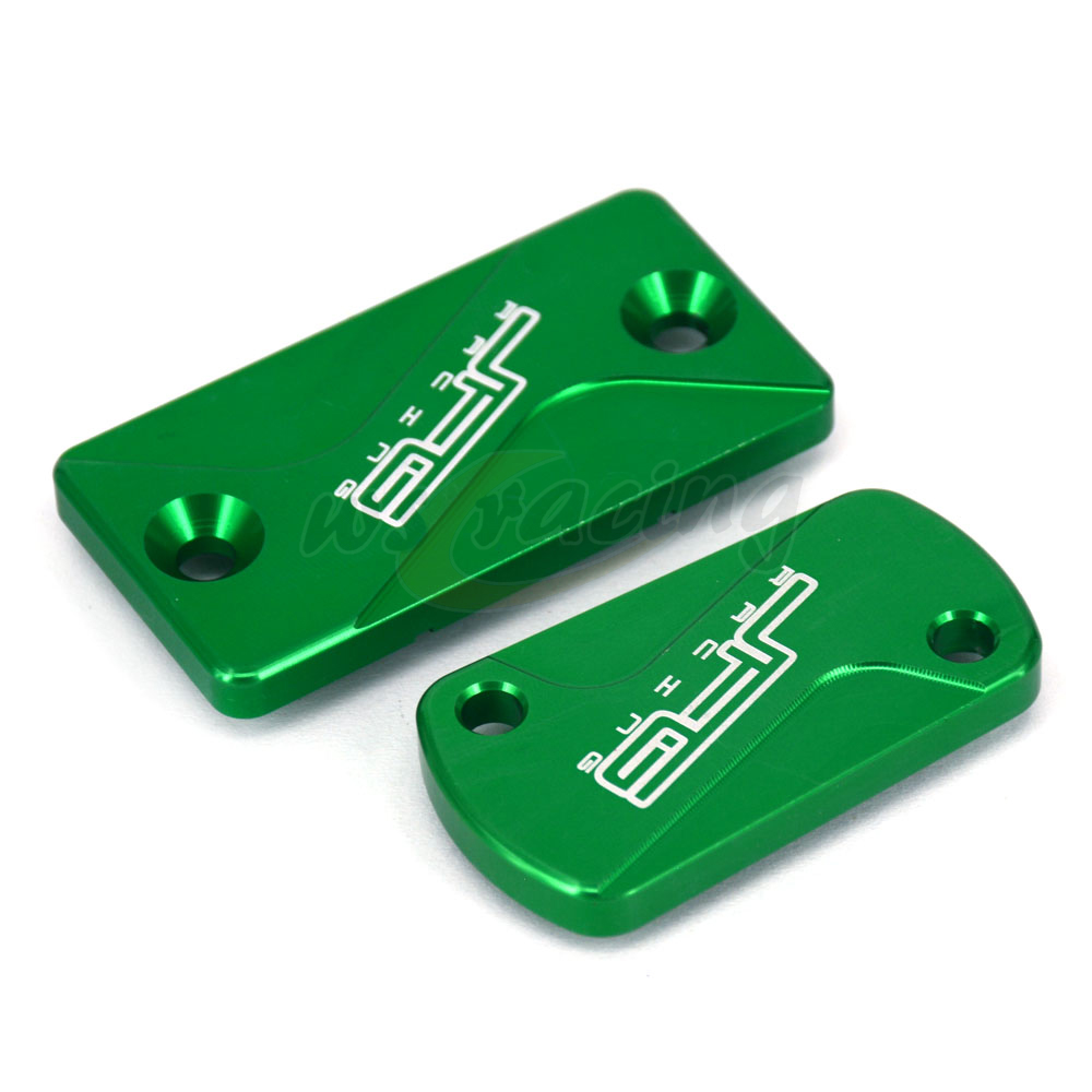 Motorcycle CNC Front & Rear Brake Fluid Reservoir Cover Cap For Kawasaki KX125 KX250 03-08 KX250F 04-16 KX450F 06-16 KLX450R