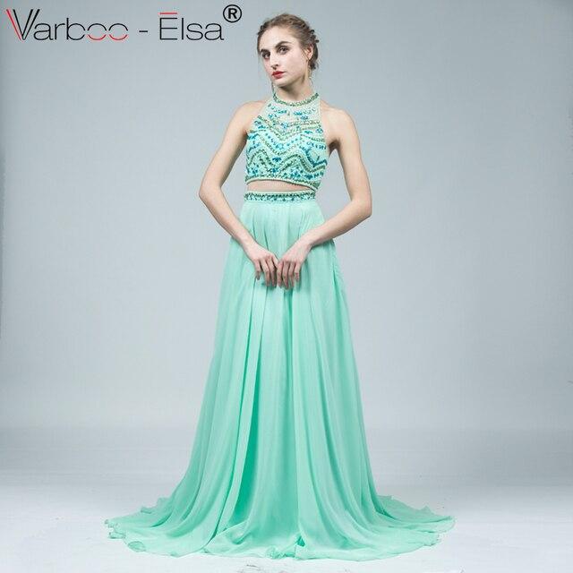 13c195d393 VARBOO ELSA 2018 Crystal Beaded 2 Piece Style Evening Dress Green Chiffon  Hang Neck Long Prom Dress robe de soiree Sexy Backless
