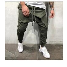 Mens pencil pants men Asymetric layered jogger hip hop streetwear casual drawstring closing floor