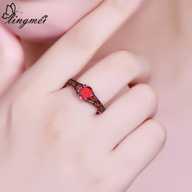 Lingmei Wholesale Wedding Bride Classic Jewelry RoundPurpleRed Zircon Silver Color Black GoldRing Size 6-9 3