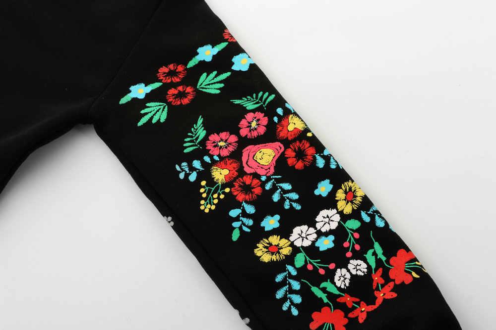 Женское зимнее мини-платье, элегантное, с цветочным принтом, с длинным рукавом, с круглым вырезом, свободное, теплое платье, черное, стильное, Vestido 2019