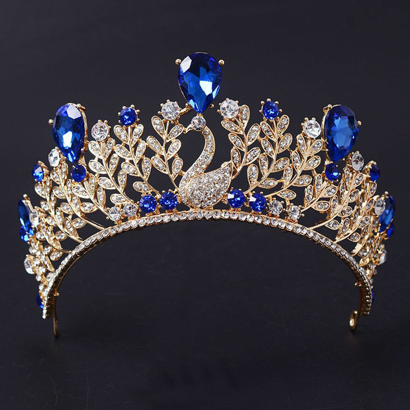 New Trendy Gorgeous Blue red crystal peacock Princess crown Fashion green crystal gold Diadem for Bride Wedding Hair accessories недорого