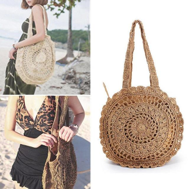 e920a6d308f7e Bohemian Style Straw Bag Handbags for Women Circular Vintage Crochet Rattan  Shoulder Bag Hollow Out Beach Bag Elegant Design-in Shoulder Bags from  Luggage ...