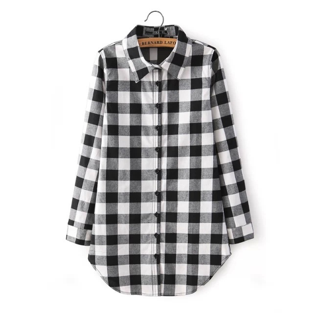 Womens Black And White Plaid Shirt