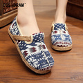 Spring Maple trees Women Casual Shoes Printing Hemp Women Flats Linen Canvas Slip On Leisure Fashion Chinese Style SNE-171