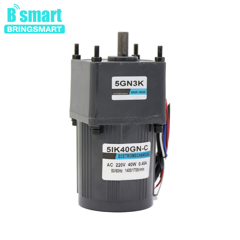 Bringsmart 220V AC Gear Motor Low-Speed Single-Phase Motor 40W Fixed Speed with CapacitanceBringsmart 220V AC Gear Motor Low-Speed Single-Phase Motor 40W Fixed Speed with Capacitance