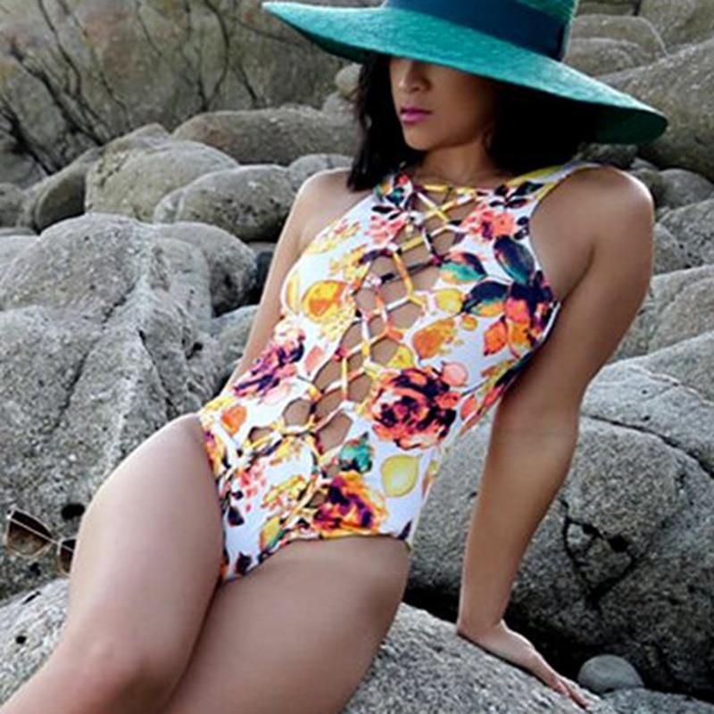 2018 Newest Bandage One Piece Swimsuit Sexy Swimwear Women Backless Yellow Floral Bodysuit Monokini Female Summer Bathing Suit 2017 new bodysuit sexy 1 one piece swimsuit women bathing suit brazilian plus size beachwear bandage monokini backless swimwear