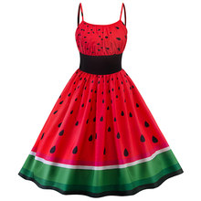 Sisjuly Women Sweet Retro Date Beach Dress Black Elastic Waist Green Watermelon Red Strawberry Backless Spaghetti Strap Dresses(China)