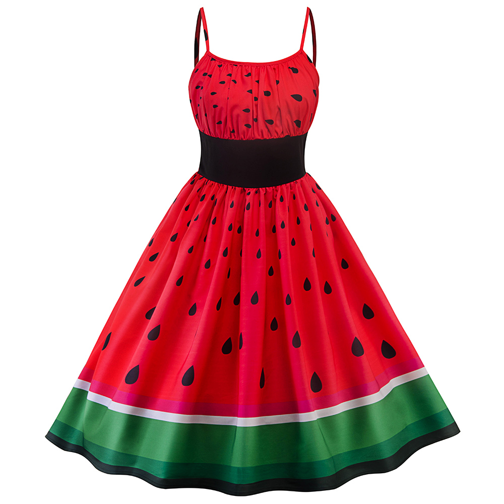 Sisjuly women vintage dress black elastic waist watermelon print green strawberry red patchwork backless spaghetti strap dresses