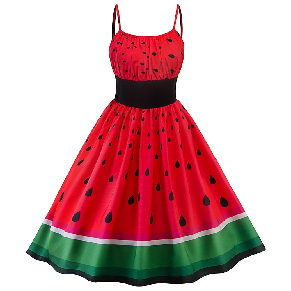 Sisjuly naiste vintage kleit must elastne talje arbuus prindi roheline maasikas punane lappimine backless spagetid rihma kleidid