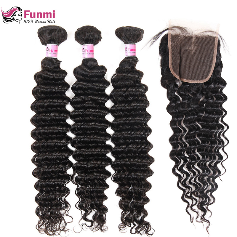 Peruvian Virgin Hair Bundles with Closure 4PCS LOT Deep Wave Bundles with Closure Unprocessed Peruvian Deep Curly Funmi Hair-in Salon Bundle Pack from Hair Extensions & Wigs    1