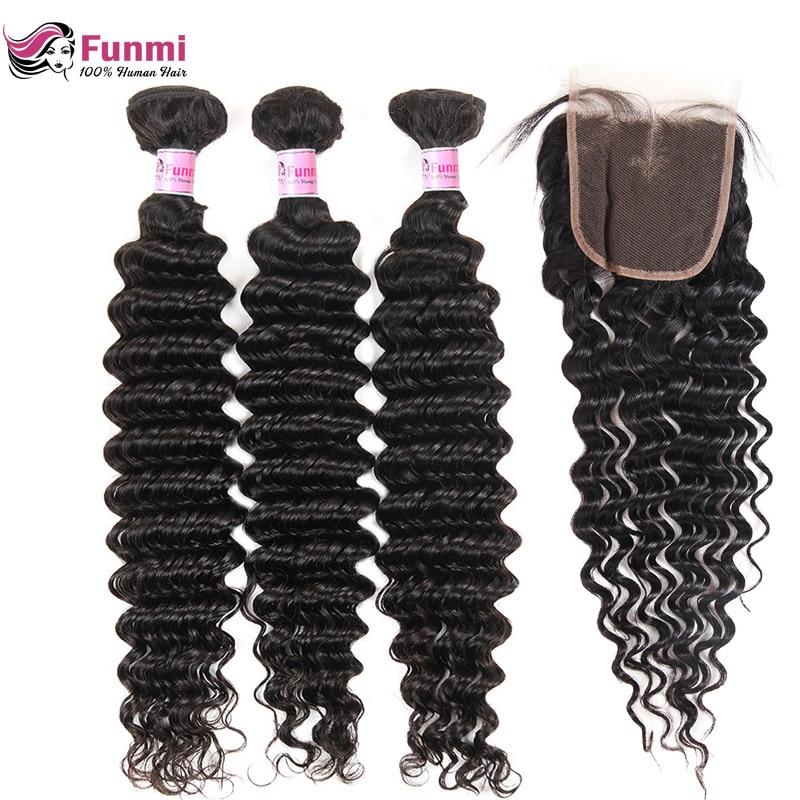 Peruvian Virgin Hair Bundles With Closure 4PCS LOT Deep Wave Bundles With Closure Unprocessed Peruvian Deep Curly Funmi Hair