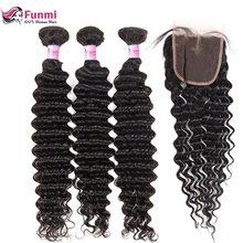 Peruvian Virgin Hair Bundles with Closure 4PCS LOT Deep Wave Bundles with Closure Unprocessed Peruvian Deep Curly Funmi Hair(China)