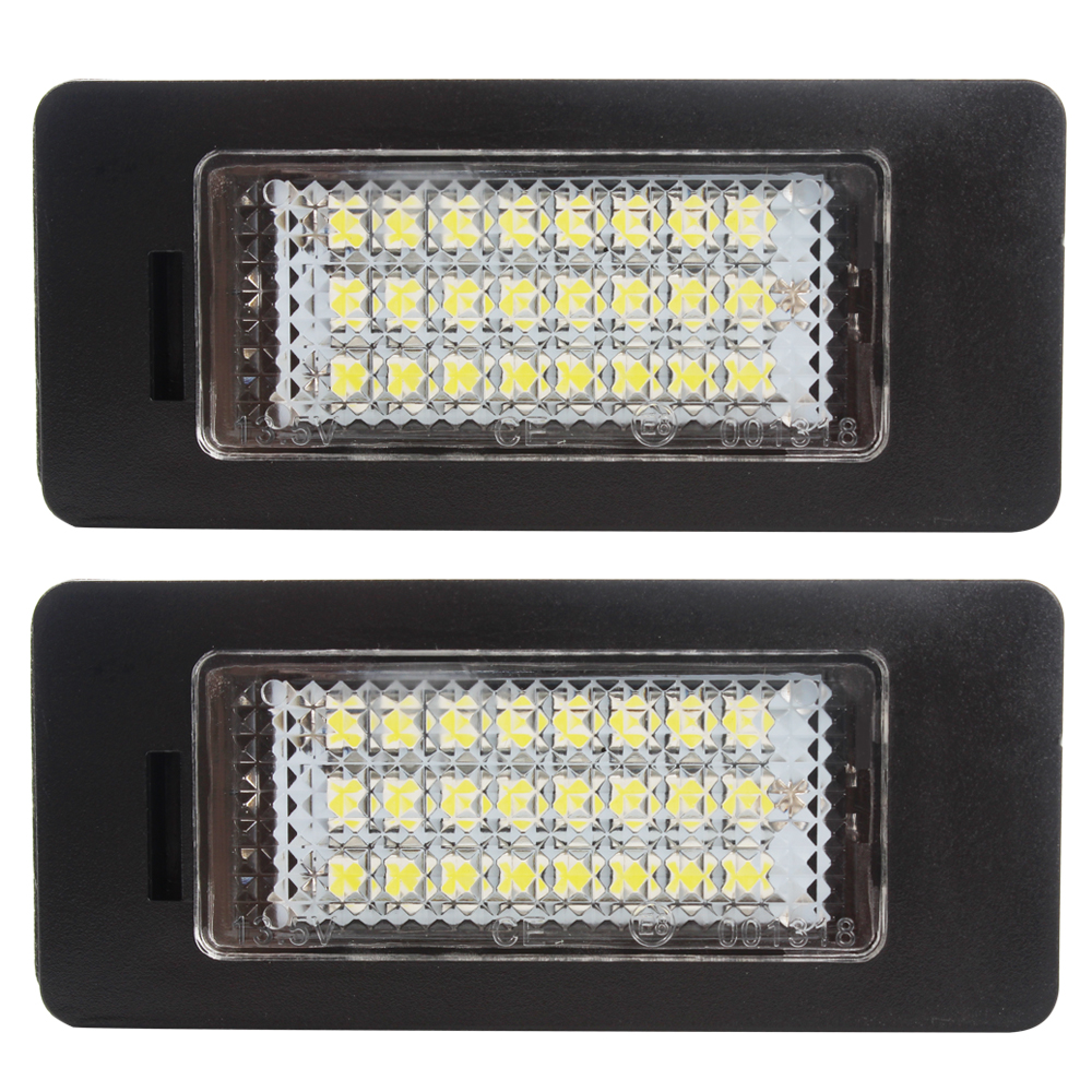 2pcs 3W Car Number Plate Light For BMW e39 e60 e70 e81 e90 e91 X1 X5 X6 24 LED Bulbs License Plate Lamp Car-styling Light Source 2x e marked obc error free 24 led white license number plate light lamp for bmw e81 e82 e90 e91 e92 e93 e60 e61 e39 x1 e84