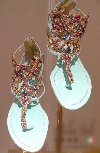 ФОТО New Sandal Hot sale High Quality Fashion Women Shoes Zipper Colorful-crystal Clip-out Gorgeous  Elegant crystal embellished Blue