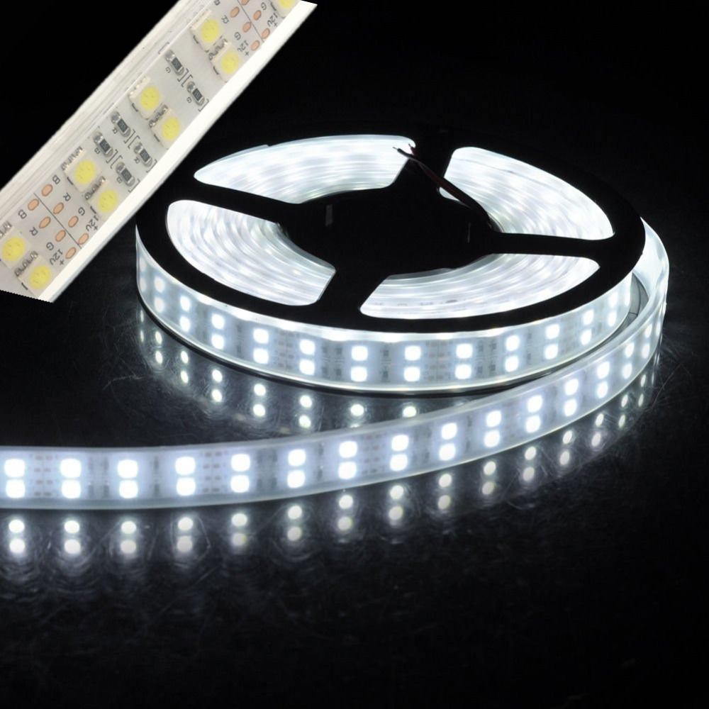 ledd strip light 5050 kiselrör rep band vattentät ip67 dubbel rad 600led 5m dc 12V 3000K 6500k vit varm vit RGB tejp