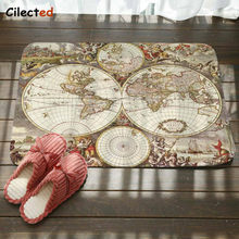 Cilected Vintage World Map Carpet Living Room Bedroom Polyester Fabric Door Mat Bathroom Kitchen Non-Slip Water Pad Home Decor(China)