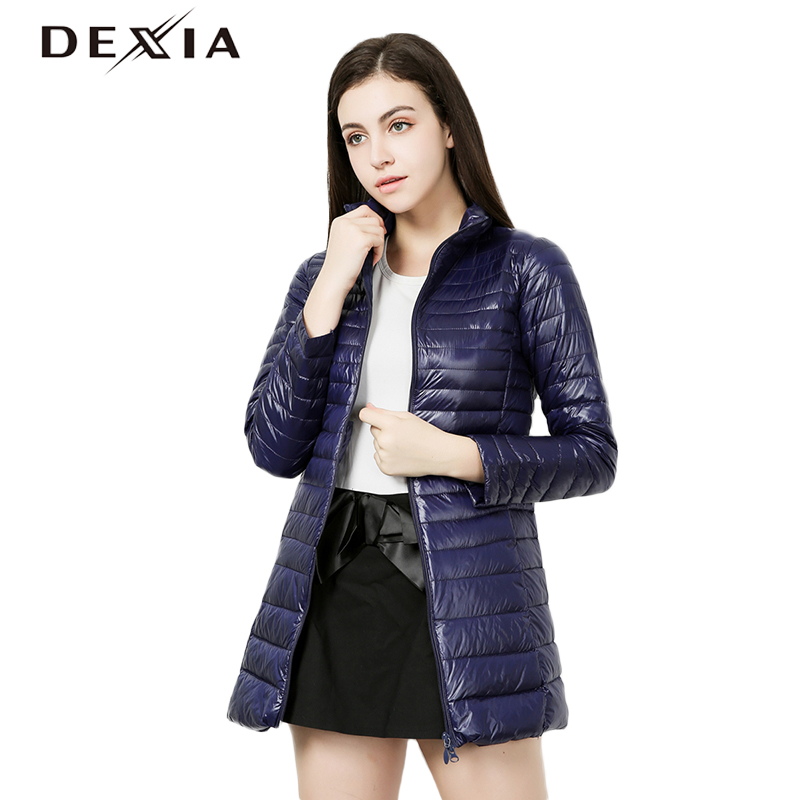 DEXIA 2018 Winter Stand Collar Coat Women Thin Outerwear Slim Hooded 90% White Duck Down   Parka   Black Coats Femme Long Jacket