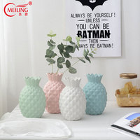 Nordic Pineapple Decorative Vase Matt Ceramic Decoration Home Macaroon Pink Green Blue White Vases For Flowers Plants Tabletop