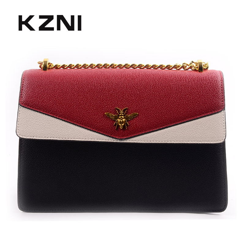 KZNI Genuine Leather Bags for Women Designer Handbags High Quality Ladies Purse and Handbags Female Sac Femme Pochette 9138 kzni ladies purse small crossbody bags for women flower handbag purses and handbags party bags for girl sac femme pochette 18002