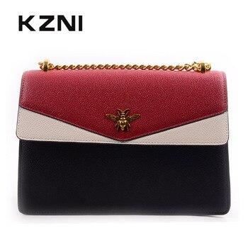 KZNI Genuine Leather Bags for Women Designer Handbags High Quality Ladies Purse and Handbags Female Sac Femme Pochette 9138