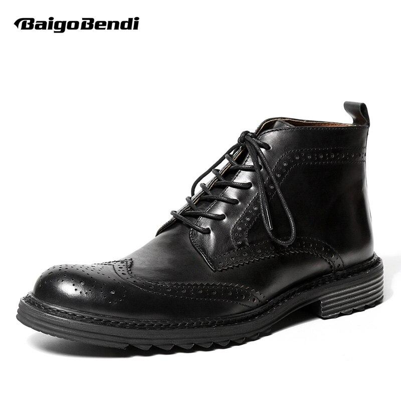 Ayakk.'ten Basic Çizmeler'de ABD 6 9 Erkek Hakiki Deri Yuvarlak Ayak Lace Up Brogue Ayakkabı Kanadı Ipuçları Çizmeler Rahat Kış Askerler binici çizmeleri'da  Grup 1