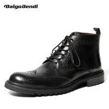 US 6-9 Mens Genuine Leather Round Toe Lace Up Brogue Shoes Wing Tips Martin Boots Casual Winter Soliders Ridding Boots