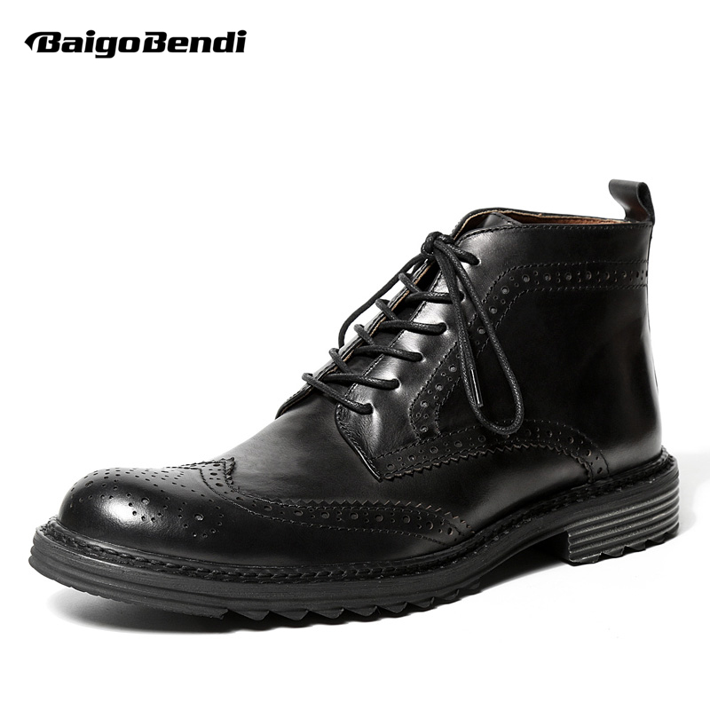 цены US 6-9 Mens Genuine Leather Round Toe Lace Up Brogue Shoes Wing Tips Martin Boots Casual Winter Soliders Ridding Boots