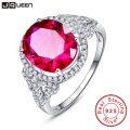 JQUEEN Vintage for Women Fine Gem 6.5Ct Oval Pigeon Blood Red Ruby Ring Cocktail Genuine Real Pure Solid 925 Sterling Silver