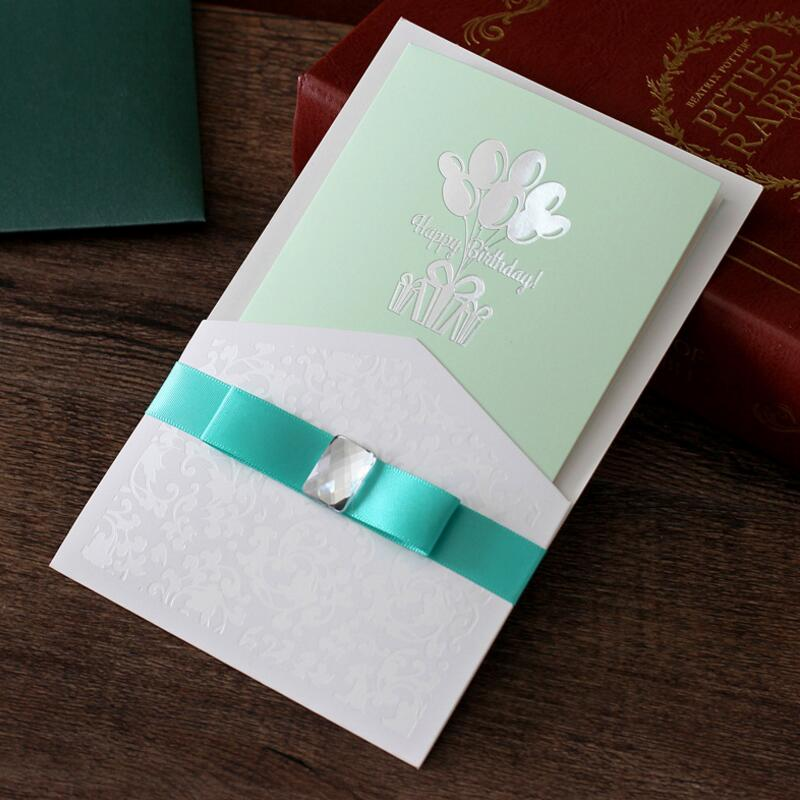 10pcs/lot Ribbon Handmade Birthday Invitations Cards