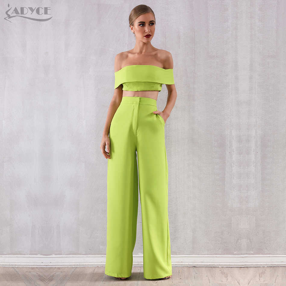 Adyce 2019 New Summer Two Pieces Sets Off Shoulder Short Sleeve Top& Full Pants Women Fashion Green Slash Neck Casual Sets