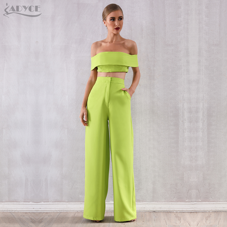 Adyce 2020 New Summer Two Pieces Sets Off Shoulder Short Sleeve Top& Full Pants Women Fashion Green Slash Neck Casual Sets